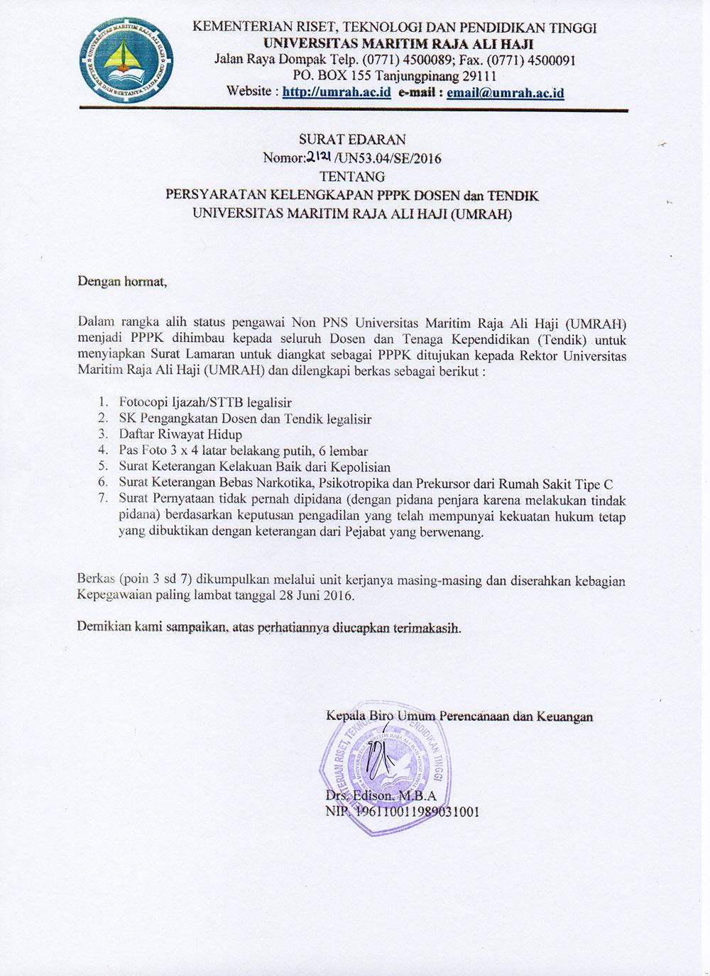 Persyaratan Kelengkapan Pengangkatan PPPK Dosen dan Tenaga Kependidikan