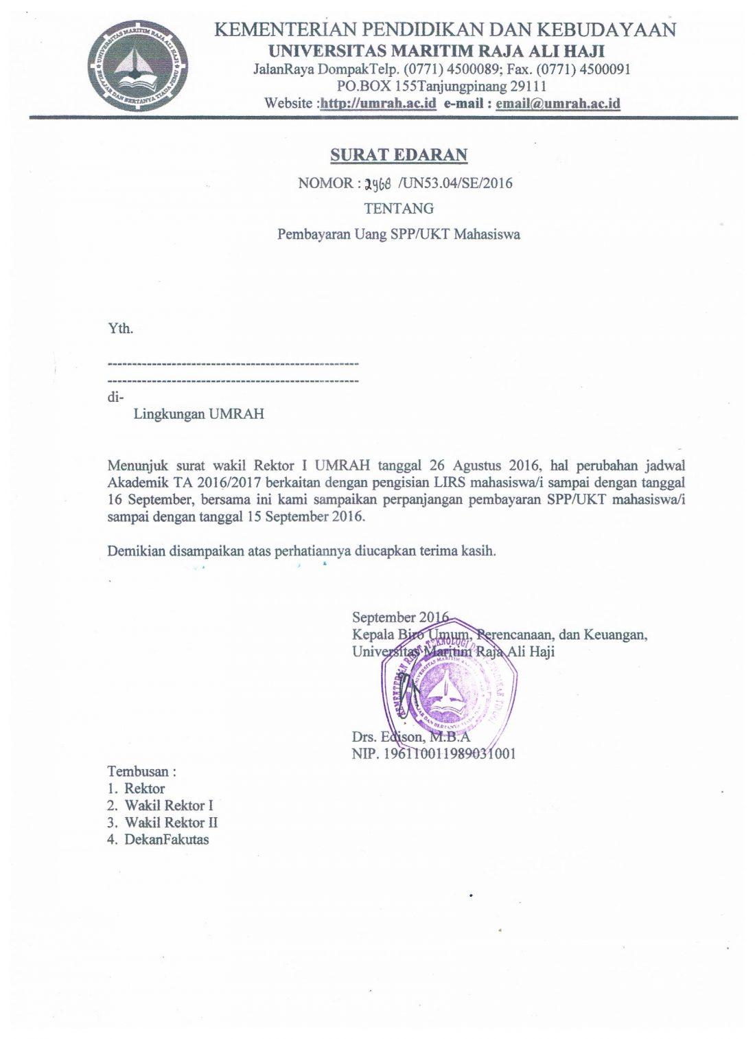 Surat Edaran Pembayaran UKT/SPP